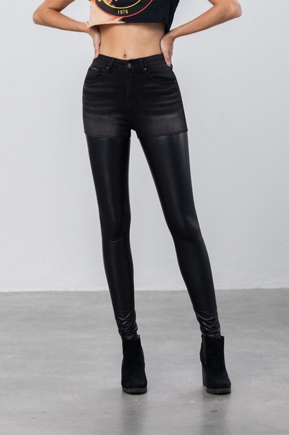 LEATHER DENIM HIGH RISE PANTS - orangeshine.com