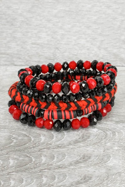 Red and Black Stacked Bracelet - orangeshine.com