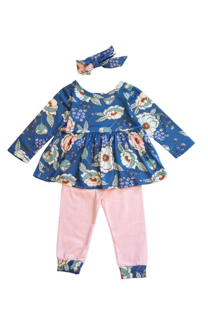 Navy pink baby set - orangeshine.com