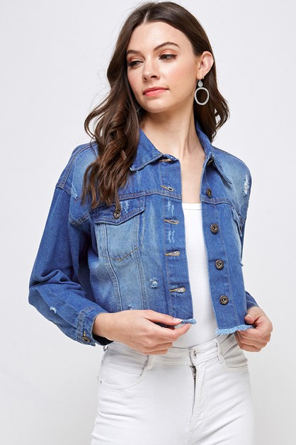NON STRETCH SHORT DENIM JACKET - orangeshine.com