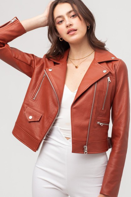OVERSIZED LEATHER JACKET  - orangeshine.com