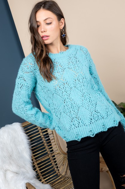 Distressed sheer knit sweater top - orangeshine.com