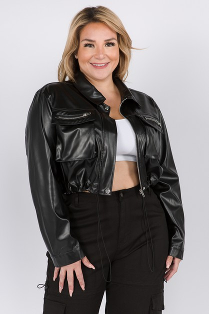 PLUS SIZE FAUX LEATHER CROP JACKET - orangeshine.com