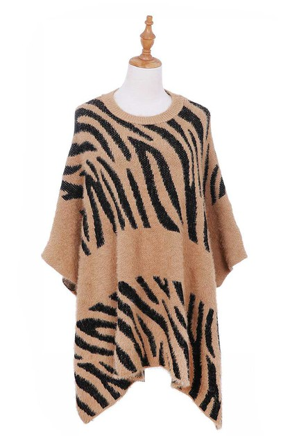 WARM ANIMAL PATTERN PONCHO  - orangeshine.com