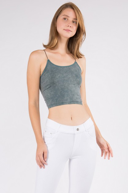 Acid Wash Seamless Crop Cami - orangeshine.com