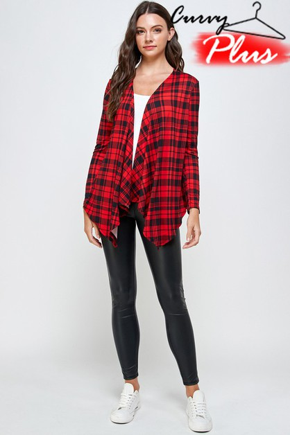 PLAID DRAPED CARDIGAN - orangeshine.com