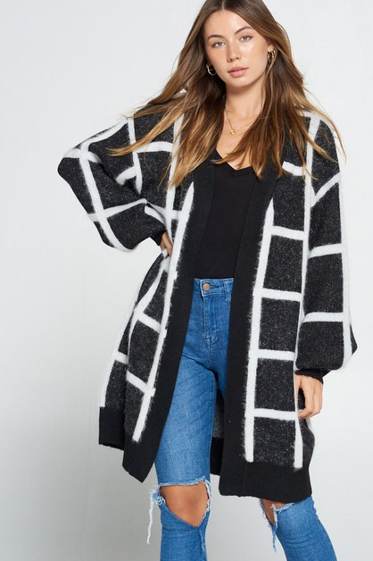 PLAID LONG SLEEVE LONG CARDIGAN - orangeshine.com