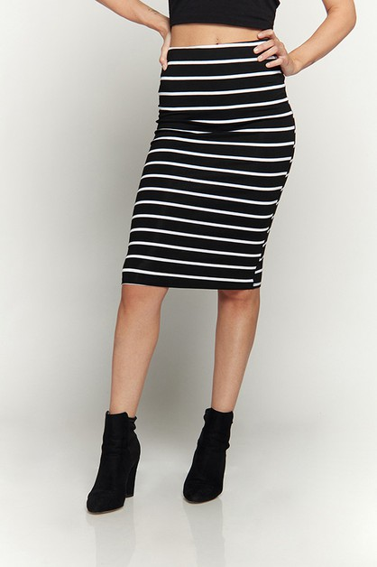 STRIPE MIDI SKIRT - orangeshine.com