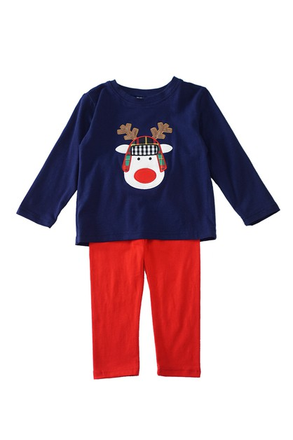 Reindeer applique navy boy set - orangeshine.com
