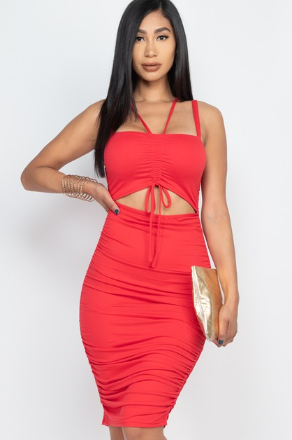 Cut Out Front Ruched Bodycon Dress - orangeshine.com