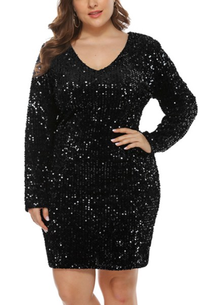 sexy sequined V neck dress - orangeshine.com