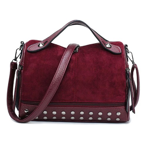 Faux suede rivet handbags - orangeshine.com