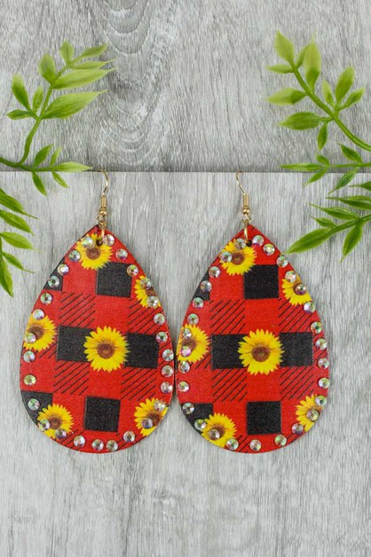 Sunflower Plaid Earrings - orangeshine.com