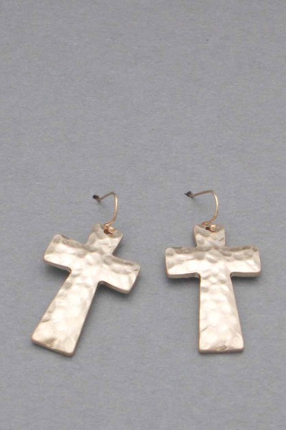 METAL CROSS DANGLE EARRING  - orangeshine.com