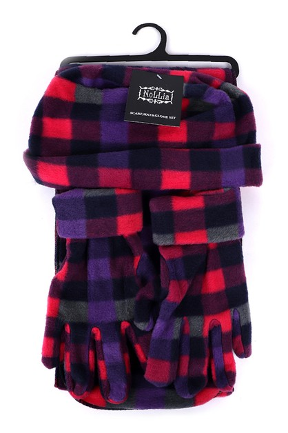 Womens Fleece Pink Plaid Winter Set - orangeshine.com