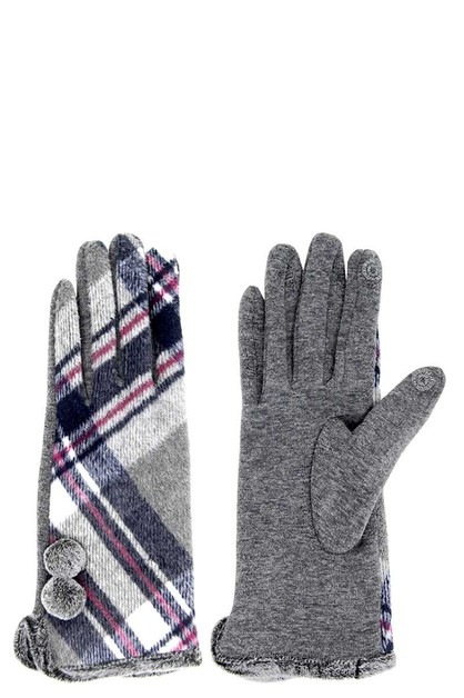 PLAID SMART GLOVE WITH POMPOM - orangeshine.com