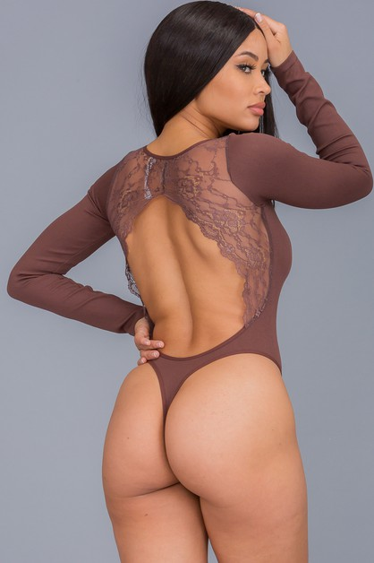 Backless Lace  Long Sleeve Bodysuit - orangeshine.com