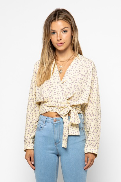 Long Sleeve Floral Wrap Crop Top - orangeshine.com