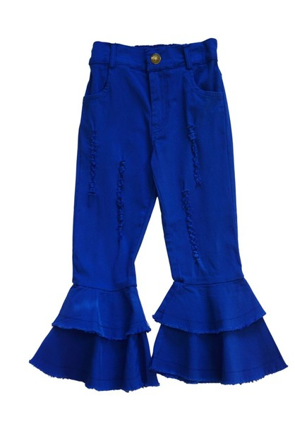 Double layer blue bell bottom pants - orangeshine.com