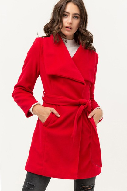 Wide Lapel Coat With Belt - orangeshine.com