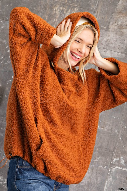 FAUX SHERPA PULLOVER WITH TOGGLE FAS - orangeshine.com