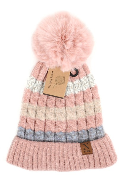 Women Pom Pom Knit Winter Hat  - orangeshine.com
