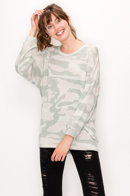 Camo Print Fleece Top - orangeshine.com