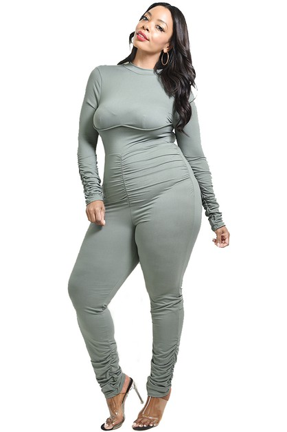 PLUS SHIRRED SLEEVE JUMPSUIT  - orangeshine.com