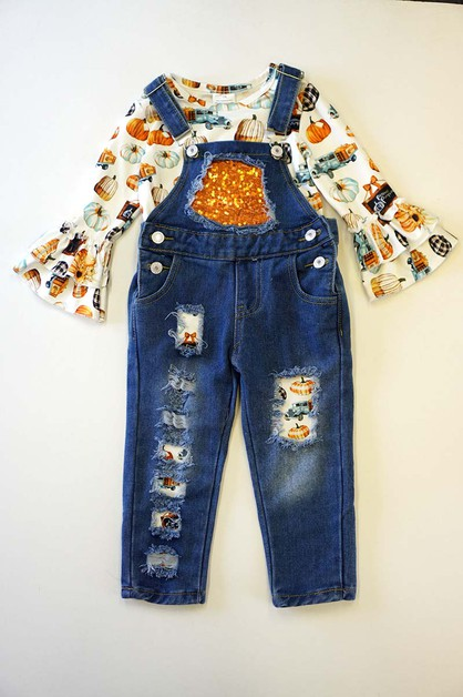 Pumpkin shirt with denim jumpsuit se - orangeshine.com
