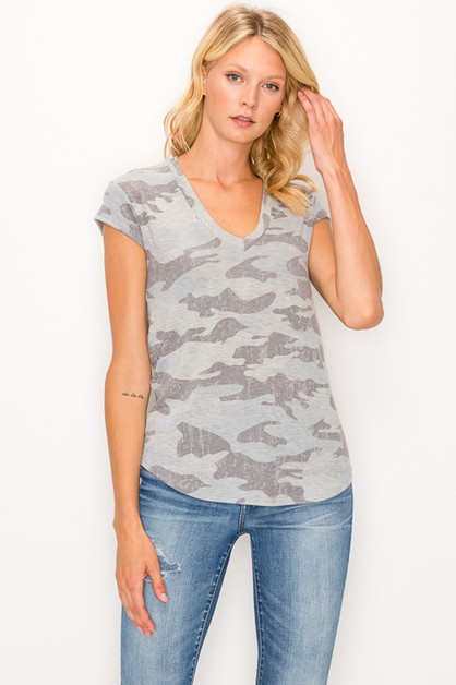 Camo Print V neck TOP - orangeshine.com