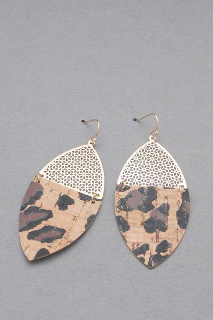 WOOD METAL DANGLE EARRING - orangeshine.com