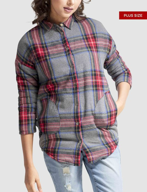 Plus Size Plaid Fleece Lined Shirt - orangeshine.com