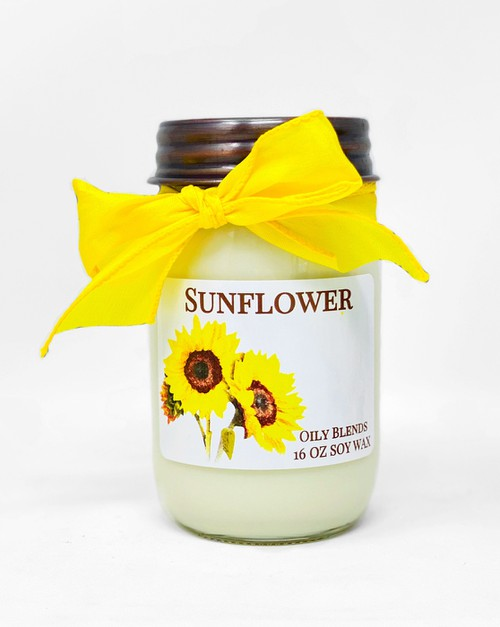 Jumbo 16 oz Soy Wax Sunflower Candle - orangeshine.com