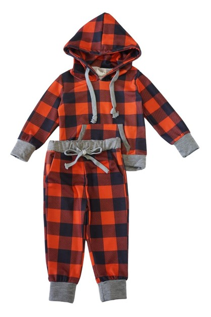 Mommy me red grey check hoodie set - orangeshine.com