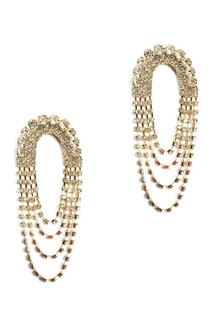 WIDE RHINESTONE MULTI DROP EARRING - orangeshine.com