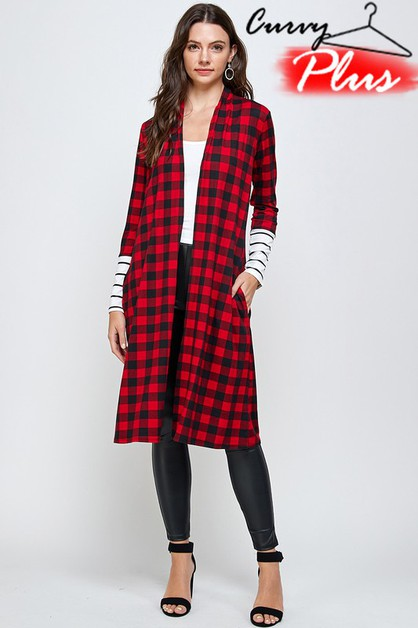 PLAID PRINT LONG OPEN FRONT CARDIGAN - orangeshine.com