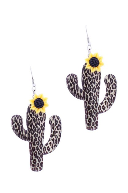 LEOPARD SUNFLOWER HOOK EARRING - orangeshine.com