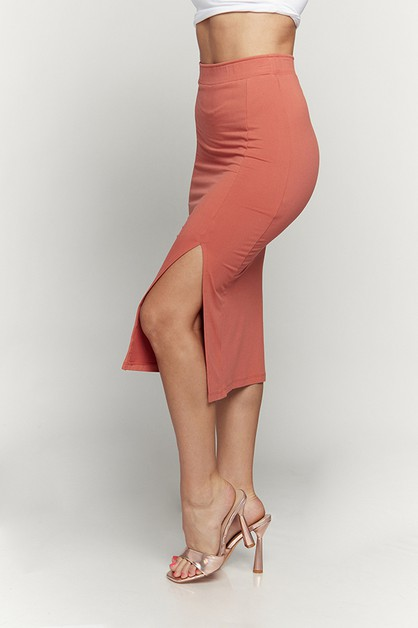 SLIT MIDI SKIRT -SET WITH TOP JK3854 - orangeshine.com