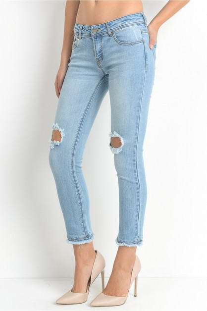 Knee busted ankle straight jeans  - orangeshine.com