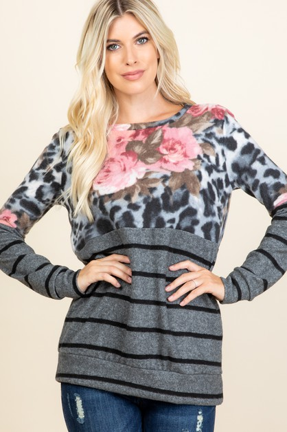 FLORAL STRIPED ANIMAL PRINTED TOP - orangeshine.com