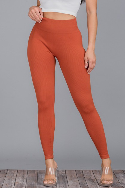 Ribbed Seamless Leggings Sports PANT - orangeshine.com