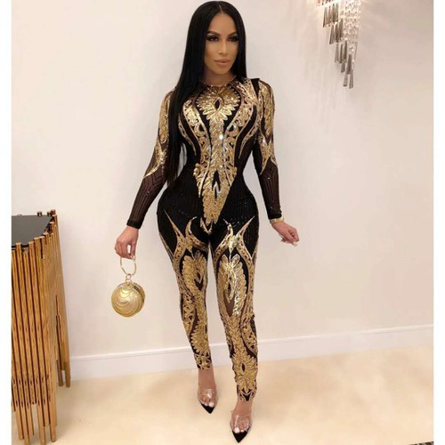 SEQUIN LONG SLEEVE JUMPSUIT  - orangeshine.com