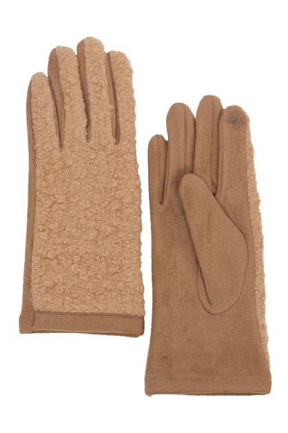 CURLY FAUX FUR TOUCH SCREEN GLOVES - orangeshine.com