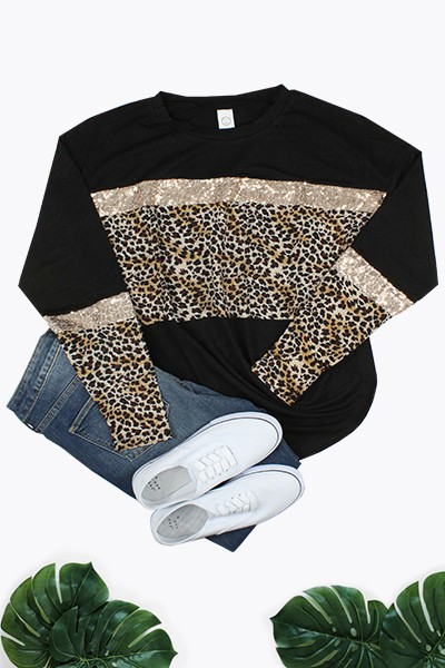 Leopard and Sequin Top - orangeshine.com
