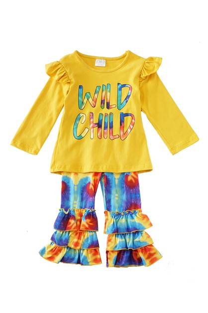 Wild child tie dye ruffle pants - orangeshine.com