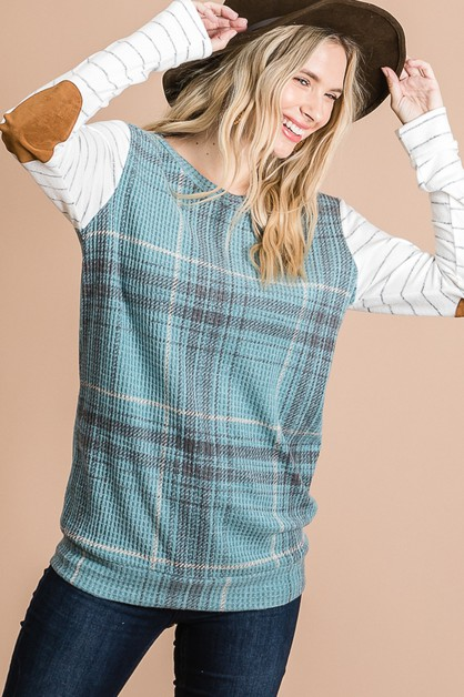 PLAID ELBOW PATCH TOP - orangeshine.com