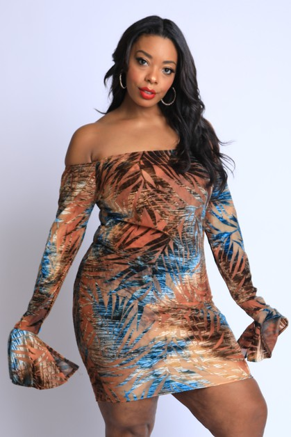 Velvet Burn Out Dress - orangeshine.com