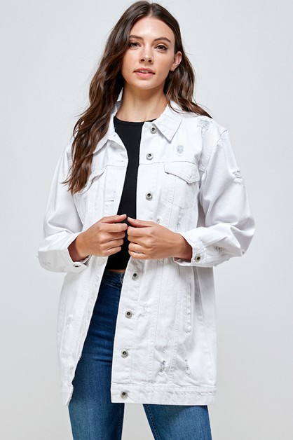 WHITE DENIM OVERSIZED JACKET - orangeshine.com
