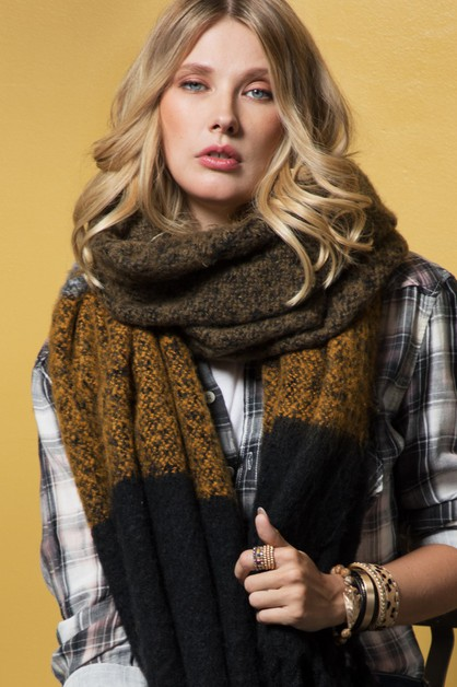 Wide Stripe Oblong Scarf  - orangeshine.com
