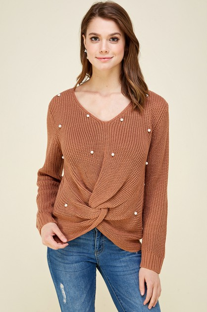 Pearl Beaded Twist Front Sweater - orangeshine.com